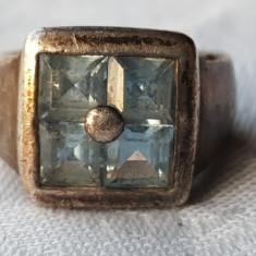 Inel argint 4 Acvamarin dispuse simetric intr-un Patrat Splendid VECHI de Efect