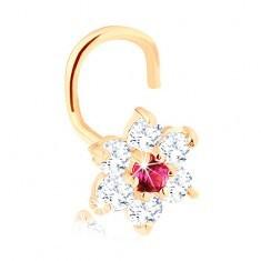 Piercing curbat pentru nas din aur galben 14K - zirconiu și floare cu rubin