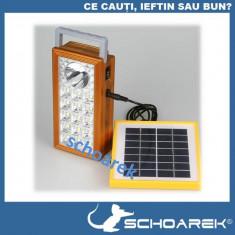 Lanterna outdoor cu acumulator si incarcare solara - panou solar - leduri  SMD