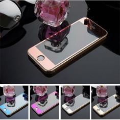 Folie sticla colorata, oglinda fata-spate Iphone 4/4S, 5/5S/5SE