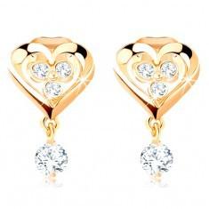 Cercei aur 585, contur de inimă simetrică, zirconii transparente strălucitoare, 14k
