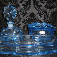 SET VINTAGE CRISTAL ISER STICLA PARFUM BOMBONIERA TAVA - Sticla de parfum