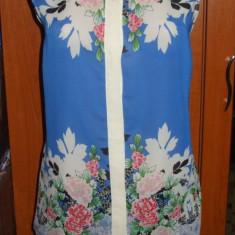 Bluza tip camasa ATMOSPHERE PRIMARK albastra cu imprimeu floral UK 16 EUR 44 - Bluza dama Zara, Culoare: Albastru, Fara maneca, Casual
