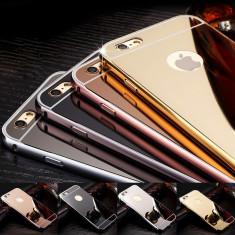 Husa - Bumper Aluminiu + Spate Oglinda - Iphone 5 / 6 / 6 Plus / 7 / 7 Plus - Bumper Telefon Apple