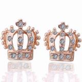 LIVRARE GRATIS Cercei placati filati aur roz 14k GOLD ROSE coronita