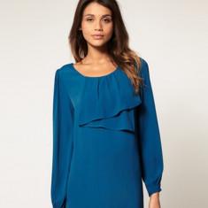 NOU Bluza verde turcoaz ASOS cu maneca lunga si volan 42 L XL - Bluza dama Zara, Office