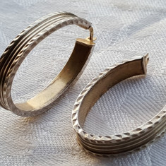 Cercei argint ovali si lati ITALIA executati manual Superbi vintage IMPECABILI