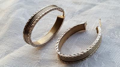 Cercei argint ovali si lati ITALIA executati manual Superbi vintage IMPECABILI foto