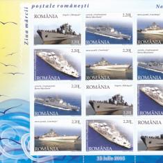 ZIUA MARCII, VAPARE, BLOC 12 TIMBRE NEUZAT 2005 ROMANIA, PRET VALOARE NOMINALA!. - Timbre Romania, Istorie, Nestampilat