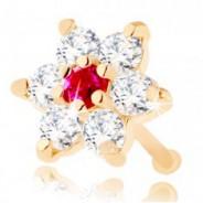 123123Piercing de nas din aur galben de 14K - zirconiu și floare din rubin