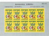 ROMANIA SPANIA EXIL EUROPA 1965 MINISHEET 10 TIMBRE IMPERFORATE NEUZATE