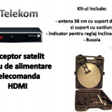 Pachet Camping : Antena satelit cu ventuza + Receptor hd telekom