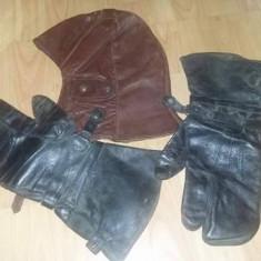 Casca si manusi piele vechi de Pilot aviatie, motociclisti, moto, transport gratuit - Ghete Moto, Marime: 51