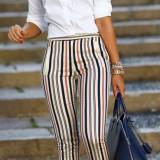 ZARA STRIPPED PANTS NAVI & RED - Pantaloni dama, Marime: XS, Culoare: Din imagine