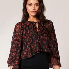 NOU Bluza top camasa imprimeu floral rosu negru capa RARE ASOS 34 36 S - Bluza dama H&m, Maneca 3/4, Casual