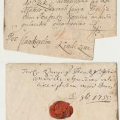 Plic prefilatelic 1755 stampila liniara V. Debretin catre contele Teleki