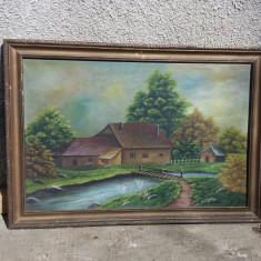 Ulei pe panza vechi peisaj casa cu pasari pe apa - Pictor roman, Natura, Realism