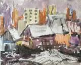 Case si blocuri in Bucuresti, Peisaje, Acuarela, Altul