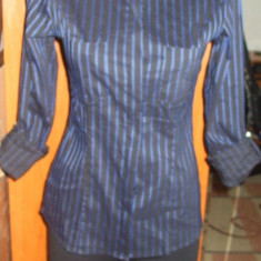 NOU Camasa dama cambrata cu dungi maneca albastra neagra NEXT 36 S - Bluza dama H&m, Culoare: Negru, Maneca lunga, Office