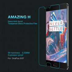 Geam OnePlus 3 A3000 Amazing H Tempered Glass by Nillkin - Folie de protectie OnePlus, Lucioasa