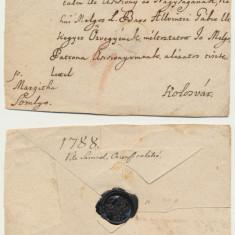 Plic prefilatelic 1788 Debretin catre grof Teleki la Cluj via Marghita si Simleu