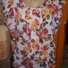 NOU Bluza top camasa de dama imprimeu floral din voal ATMOSPHERE 38 M - Bluza dama Zara, Culoare: Multicolor, Maneca scurta, Casual