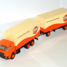 Macheta - camion cu remorca Pfanni - Roman Diesel, Herpa, scara 1:87. - Macheta auto