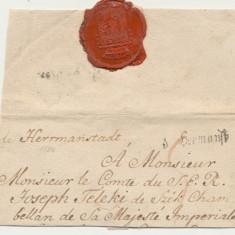 Plic prefilatelic 1784 stampila liniara Hermannstadt Sibiu spre Conte Teleki, An: 1776