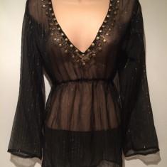 NOU Bluza de dama top transparent negru cu margele aurii kimono PRIMARK 42 - Bluza dama H&m, Maneca lunga, Casual