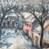 Peisaj de iarna in Bucuresti - Pictor roman, Peisaje, Acuarela, Altul