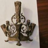 PVM - Sfesnic vechi, bronz dore, superb, patina timpului, pentru 4 lumanari