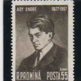1957 Romania, LP 446- 80 de ani dela nasterea lui Ady Endre-MNH - Timbre Romania, Oameni, Nestampilat