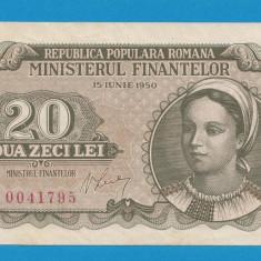 20 lei 1950 aUNC UNC - Bancnota romaneasca