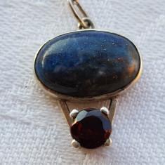 Medalion argint cu Lapis Lazuli SUPERB vechi Finut Delicat SUPERB pe Lant argint