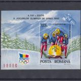 ROMANIA 1992, LP 1276, J.O. DE IARNA ALBERTVILLE COLITA NEDANTELATA MNH - Timbre Romania, Nestampilat