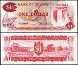 !!! GUYANA -  1  DOLAR  (1966-1992) - P 21 f - UNC / SEMN. DIN SCAN / SERIA B/19