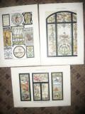 Set 5 Cromolitografii -Vitralii Art Nouveau cca1900 semnate Arn.Lyongrun