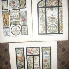 Set 5 Cromolitografii -Vitralii Art Nouveau cca1900 semnate Arn.Lyongrun - Litografie