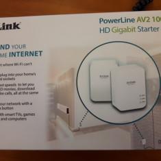Kit adaptor PowerLine D-LINK AV2 1000 HD Gigabit DHP-P601AV nou, fara factura - Adaptoar PowerLAN