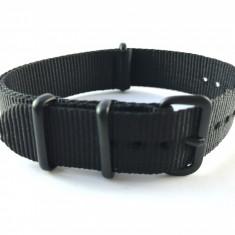 18mm, 20mm curea ceas NATO catarama premium neagra/aurie - Curea ceas material textil