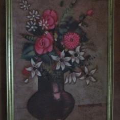 TABLOU-VAZA CU FLORI-inramat, ulei pe panza, semnat - Tablou autor neidentificat, Natura statica, Realism