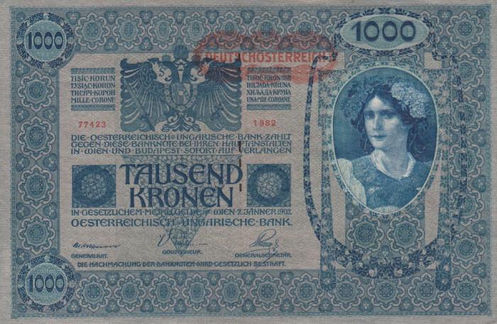 BANCNOTE GERMANIA , 1000 MARCI ,  EMISA 2 IANUARIE 1902 ,  XF +