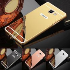 Husa / Bumper aluminiu + spate acril oglinda Samsung Galaxy A5 2017 - Husa Telefon, Negru
