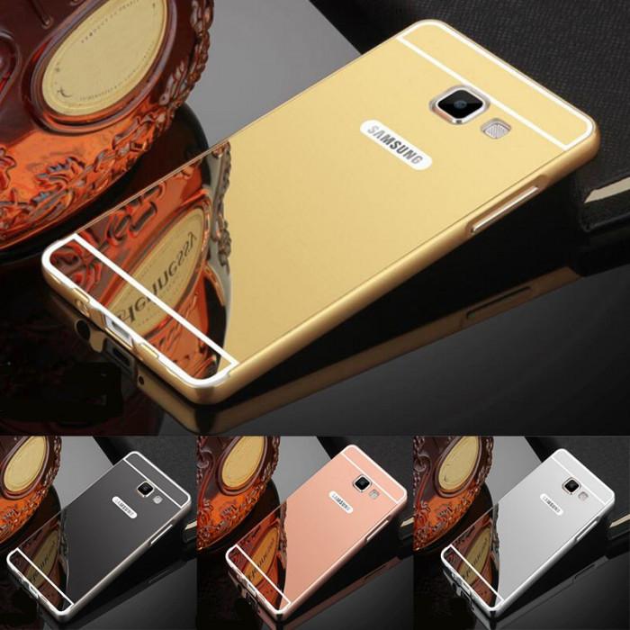 Husa / Bumper aluminiu + spate acril oglinda Samsung Galaxy A5 2017 / A8 2018 foto mare