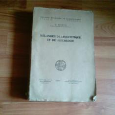 MELANGES DE LINGUISTIQUE ET DE PHIOLOGIE-A. ROSETTI