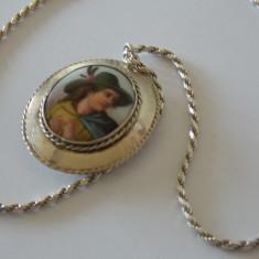 Lantisor cu pandant argint si ceramica pictata vintage -1756