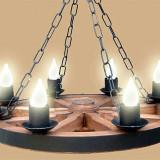 Candelabru Rustic din lemn  , Lustra rustica din lemn , din roata de lemn