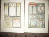 9 Cromolitografii Art Nouveau Ed.Jul.Hoffman -Vitralii - autori celebri cca.1900