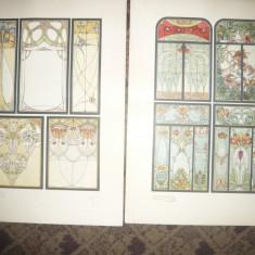 9 Cromolitografii Art Nouveau Ed.Jul.Hoffman -Vitralii - autori celebri cca.1900 - Litografie