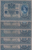 BANCNOTE GERMANIA , LOT 5 BUC. , 1000 MARCI EMISE 2 IANUARIE  1902 , XF +